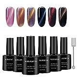 WAKANIYA Cat Eye Gel Nagellack UV Gel Nail Polish Set, Dark Color Series Soak Off UV Gel Nail Polish Varnish for Nail Art ((6Stück 8ml,1X Magnet)