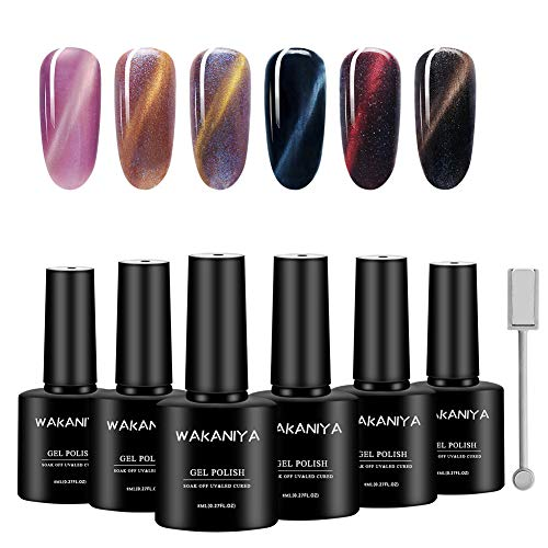 WAKANIYA Cat Eye Gel Nagellack UV Gel Polish Set, Dark Color Series Soak Off UV Gel Nail Polish Varnish for Nail Art ((6Stück 8ml,1X Magnet)