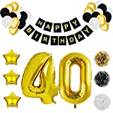 Belle Vous Happy Birthday Palloncini 40 Anni Compleanno - Decorazioni Compleanno 40 Anni con Numero e Stella Riutilizzabili Nero, Bianco e Oro in Lattice - Festoni Compleanno con Palloncini e PomPom