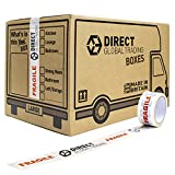 10 Strong Large Cardboard Storage Packing Moving House Boxes with 66m Fragile Tape 47cm x 31.5cm x 30cm 44 Litres