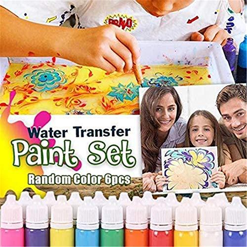 Juego de pintura al agua, pigmento al agua para papel, herramienta de arte marmoleado, kit de pintura al agua, pintura sobre agua, arte creativo marmoleado para niños (8 color)