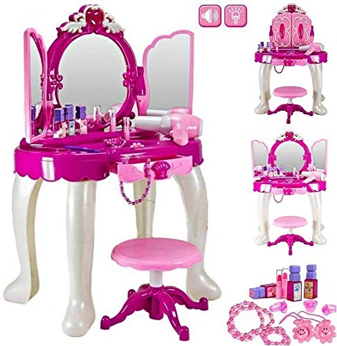 Deluxe Girls Pink Musical Dressing Table Vanity Light Mirror Play Set Toy...
