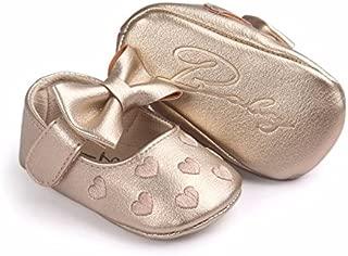 Bellazaara Baby Girl Golden PU Leather Bowknot Moccasins Soft Sole Crib Shoes Anti-Slip Prewalker
