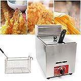 Meiney 10L Commercial Countertop Gas Fryer w/Baskets Kitchen Fryer Liquid Propane/Natural Gas Commercial Countertop Gas Fryer Deep Fryer Combined Fast Heating Fryer Set(0°F-392°F)