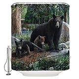 N / A Rustico orso Nero Foresta cuccioli Tessuto animale tenda da doccia Set arredo bagno con ganci,