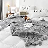 DONEUS Pom Pom Throw Blanket, 100% Polyester Knit Throw Blankets for Sofa Bed Couch Office Super Soft Cable Knitted Blanket (Grey, 51'x63')