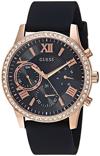 GUESS  Comfortable Rose Gold-Tone + Black Stain Resistant Silicone Watch with Day, Date + 24 Hour Military/Int'l Time. Color: Black (Model: U1135L4)