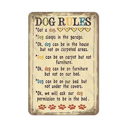 Placa decorativa de metal con diseño de reglas de perro, 20 x 30 cm, para decoración de casa, cocina, baño, granja, jardín, divertida decoración de pared
