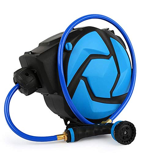 Auto Reel 11M Auto Rewind Wall-Mounted Reel With 6-Function Spray Gun Attachment For Garden Watering Flowers Car Washing Pets Gardening for Home Gardening (Color : Blue, Size : 29.5x16.5x33cm) XUAG