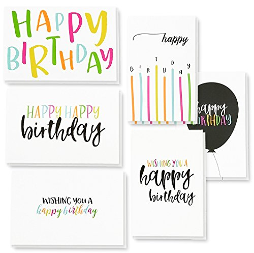 "48 Happy Birthday Cards Assortment with Envelopes, 6 Colorful Handwritten Designs, Blank Inside, Bulk Box Set, 4 x 6"", for All Ages, Gender, Office, Employees"