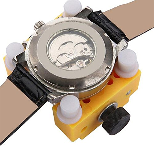 Watch Repair Tool Kit, Set of Back Opener Wrench and Large Watch Case Movement Holder for Waterproof Watch, Change Battery Yourself
