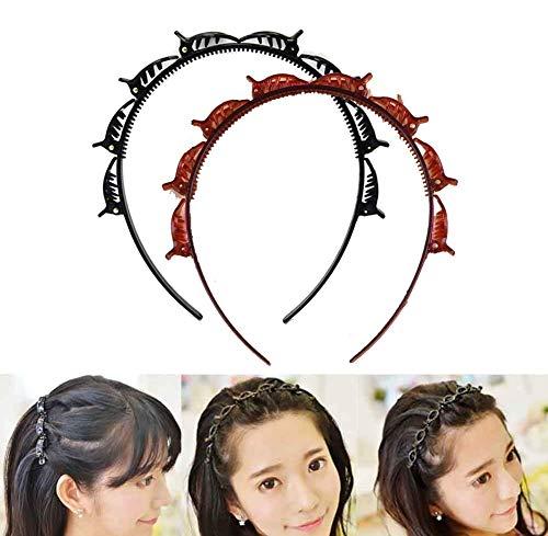 2Pcs Double Bangs Hairstyle Hairpin,DIY Double Layer Twist Plait Headband Hair Tools,Minimalist...