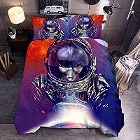 羽毛布団カバーセット3個、枕カバー2個付きキルトカバーセット,大人の10代の子供のための3D星空エイリアンスペースユニバース寝具セット-G