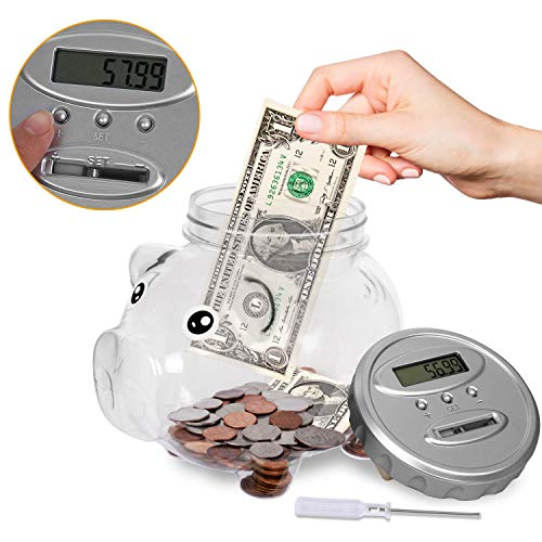Digital Piggy Bank with Automatic LCD Display,Large Capacity Digital Counting Money jar, Coin Bank as for Kids Friends Adults at Christmas, New Year's, Birthday