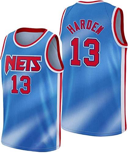 ZMIN Camiseta de Baloncesto para Hombre, Uniforme de Camisa Bordada Brooklyn 13# Harden, Secado rápido, Transpirable y de Textura Suave,Azul,L 175~180cm