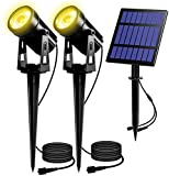 T-SUN Solar Spotlights 2W Outdoor LED Landscape Spot Light, 2-in-1 Waterproof Solar Powered Wall Lights Auto ON/OFF with Dual Headlamp for Garden, Yard, Pathway(Warm White)