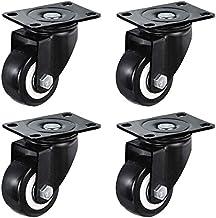WSWJ Set van 4 zwenkwiel, Meubelwielen - Polyurethaan, Zwart, Heavy Duty 360 ° bovenplaten, dubbele lagers, slijtvast, 500...