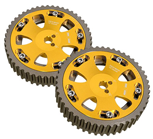 2 Piece Gold Adjustable Cam Shaft Gears For 4g63 Dohc Engines