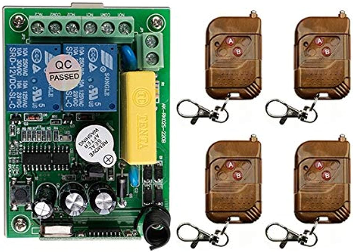 New AC220V 1CH 10A RF Wireless Remote Control Switch System 4 Transmitter & 1 Receiver Relay Receiver Smart Home Switch