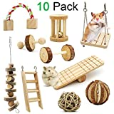 ZALALOVA Hamster Chew Toys, 10 Pack Natural Wooden Pine Guinea Pigs Rats Chinchillas Toys Accessories Dumbells Exercise Bell Roller Teeth Care Molar Toy for Birds Bunny Rabbits Gerbils