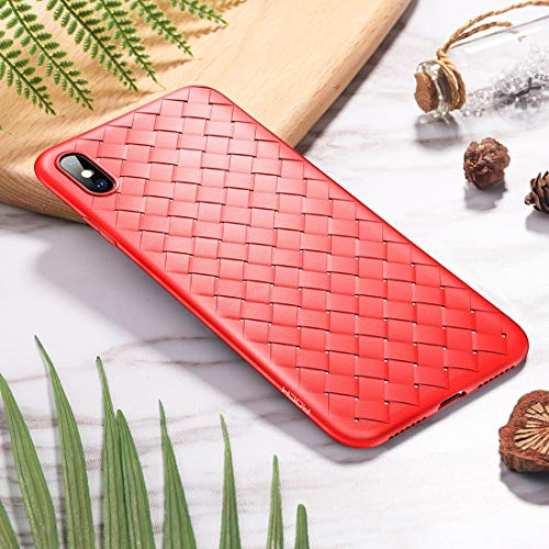 Shockproof LIJM Slim Weave Style TPU Soft Case For IPhone XS (zwart) Decoratie (Color : Red)