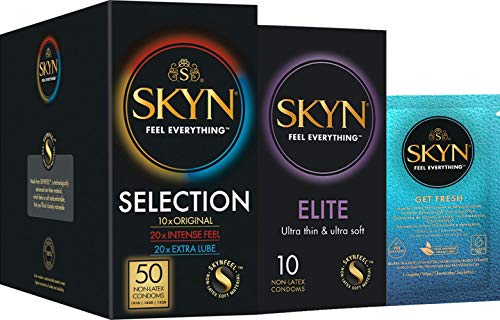 SKYN® Selection Non Latex Condoms - 5 x 10 Pack of 50 + Free 10 Pack of Elite Condoms + Free 2 Wipes