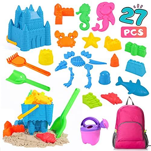 Rolimate Juguetes de Arena de Playa Set para niños, 27 pcs Sandbox Toys para la Playa con Bolsas de Secado rápido, Juguetes de Arena para la Playa para niños pequeños (Rojo)