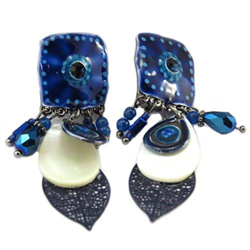 Les Trésors De Lily [P7346] - Clips Créateur 'Navajos' bleu beige - 60x18 mm