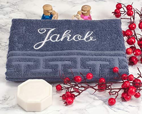 AngelicArt Personalisiertes Handtuch mit Namen, bestickte Handtücher (Denim, 50 x 100 cm)
