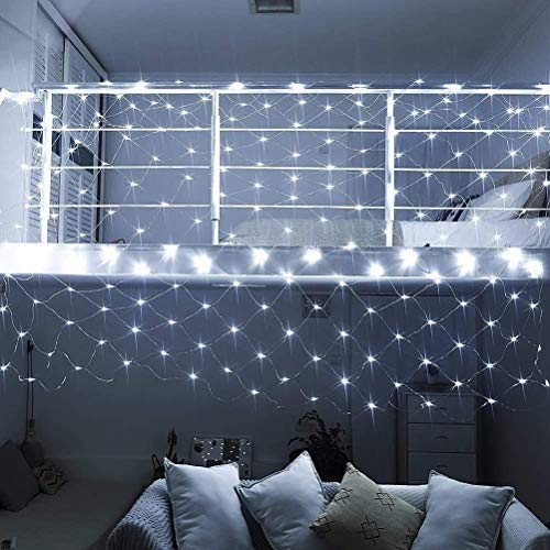 DUOCACL 3x2m LED Net String Lights 200LED Christmas Decorative Lights with 8 Modes Home Wall Roof Curtain Weddings Party Bedroom Decor