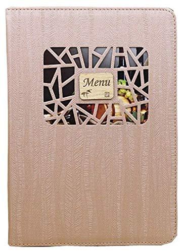10枚セット 小窓付き メニュー ブック ファイル A4 全4色 木目 料理 選択 中閉じ スタンダード レシピ バインダー… (ブラウン)