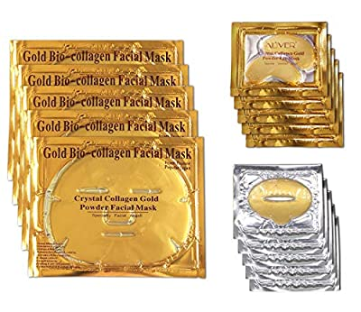 24k Gold Mask Set, 5 Packs Gold Bio-collagen Face Mask + 5 Packs Gold Eye Mask+ 5 Packs Gold Lip Mask