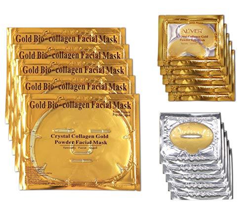24k Gold Mask Set, 5 Packs Gold Bio-collagen Face Mask + 5 Packs Gold Eye Mask+ 5 Packs Gold Lip Mask