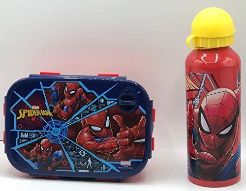 Gym Set Botella de Agua de Aluminio Infantil de 520ml con Fiambrera sandwicheras para niñas y niños, cantimplora térmica a Prueba de Fugas sin BPA roja
