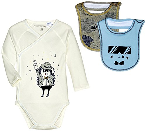Price comparison product image Little Marc Jacobs Baby Girls' Set of Bodysuit and 2 Bibs Sold with Mouse Pouch (Infant),  Off-White,  1 Months