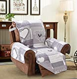 Brilliant Sunshine Gray Heart Love Patchwork, Reversible Large Recliner Protector for Seat Width up to 28', Furniture Slipcover, 2' Strap, Reclining Chair Cover for Pets, Kids, Dogs, Recliner, Gray