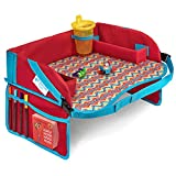 Kids Travel Tray Red Children's Lap Activity Table with Cup Holder and Pockets Travel Trays for...