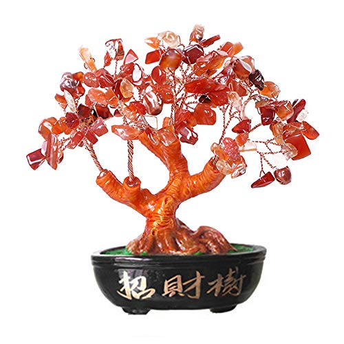 Upupto Lucky Money Tree Crystal Fortune Tree, Ornament Wealth Ornament Home Office Decoration Crafts Crafts,Rojo