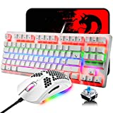 Mechanical Gaming Keyboard and Lightweight Honeycomb Mouse with Compact 88 Key Anti-ghosting Rainbow Backlight Blue Switch Ergonomic Adjustable 6400 DPI Mice USB Wired for PC Mac Gamer Typist (White)