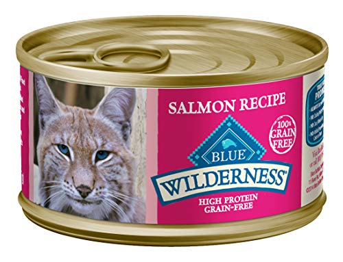 Blue Buffalo Wilderness High Protein Grain Free, Natural Adult Pate Wet Cat Food, Salmon 3-oz cans (Pack of 24) (800202)