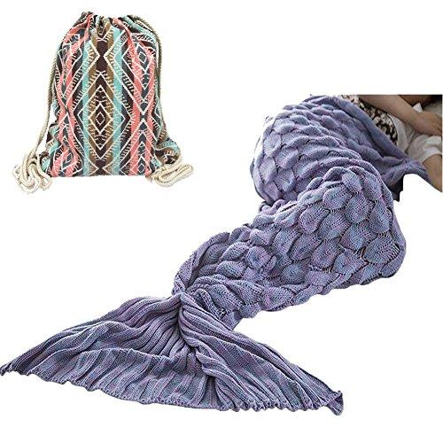 マーメイドブランケット 人魚毛布 お昼寝毛布 可愛いひざ掛け 人魚姫に変身 着る毛布 ソファ毛布 柔らかい 暖かい 防寒 さまざまな色 185x85cm (ラベンダー秤)
