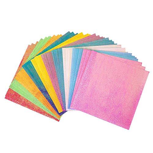 Juego de Papel de Origami, 100 Hojas de 15 x 15 cm, 10 Papeles de Colores Vivos con Purpurina de Doble Cara, Papel Cuadrado Para Proyectos de Manualidades y Manualidades Para Niños