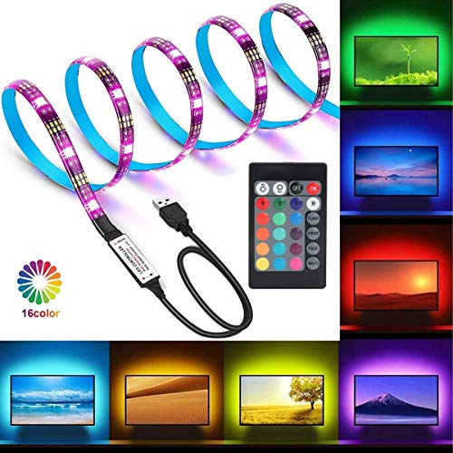 Wigbow Black PCB TV Backlight Kit,Computer Case LED Light, 1M / 3.28Ft Multi-Colour Flexible 5050 RGB USB LED Strip Light with 5v USB Cable and Mini Controller for TV/PC/Laptop Background Lighting