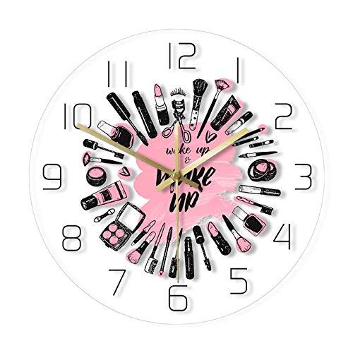 Reloj de pared Despertar y Maquillaje Cosméticos Colección Reloj de Pared Salón de Belleza Negocios Arte de Pared Decoración Reloj No Ticking Reloj de Pared Oficina Hogar Escuela Decoración Relojes