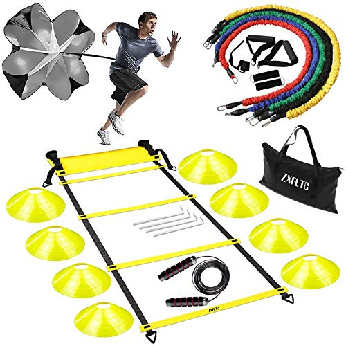 ZXFLTC Agility Ladder Speed Training Equipment-20 Feet Ladder,8 Disc Cones,5 Resistance Bands, Running Parachute, Skipping Rope-Boost Fitness,Improve Footwork in Soccer, Basketball, Football (Yellow)