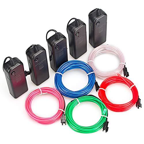 Mixtooltoys Flexibel 5 Stück 9.9FT 3 m Neon Beleuchtung Draht Lichtschlauch Leuchtschnur El Kabel Wire mit 3 Modis Elektrolumineszenz EL Wire Rope für Partybeleuchtung(rot grün blau weiß Rosa)