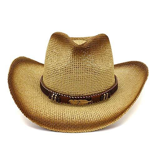 Azly-Caps Chapeaux de Cowboy de Paille, Chapeaux de Soleil de Bord Large Pliables Unisexe pour la Plage Occidentale,Métallique
