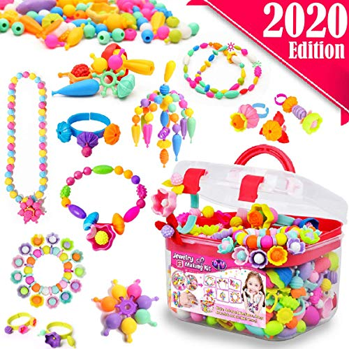 Image of the FunzBo Snap Pop Beads for Girls Toys - Kids Jewelry Making Kit Pop-Bead Art and Craft Kits DIY Bracelets Necklace Hairband and Rings Toy for Age 3 4 5 6 7 8 Year Girl Old