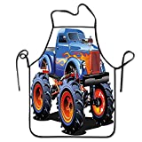 Not Applicable Grembiule da Uomo Cave Decor Grembiule da Forno Cartoon Monster Truck Gomme enormi Fuoristrada Pesante Ruote per trattori Grandi Grembiule da Donna Multicolore