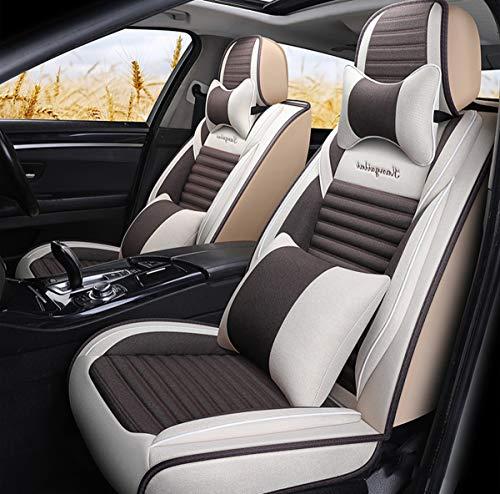 Fundas de tela para asientos de coche, funda de cojín de lino para vehículos de motor para coches, camioneta, SUV, juego de ajuste universal para accesorios interiores de automóviles,A